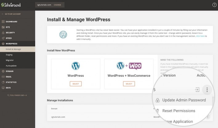 update WordPress admin password