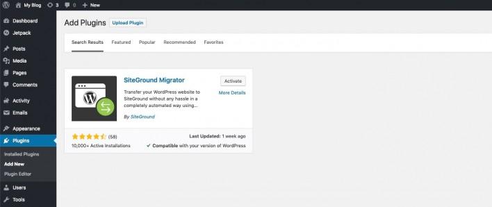siteground migrator plugin