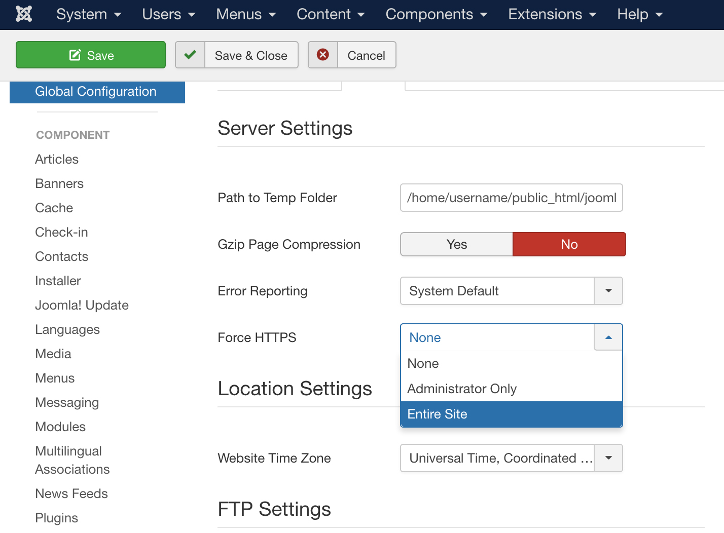 How to configure Joomla with SSL