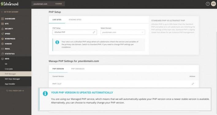 PHP status information box