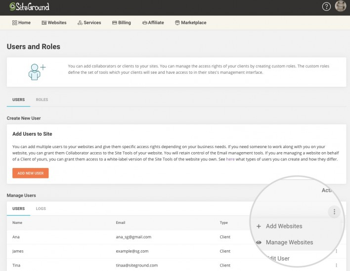 how to manage websites of a client